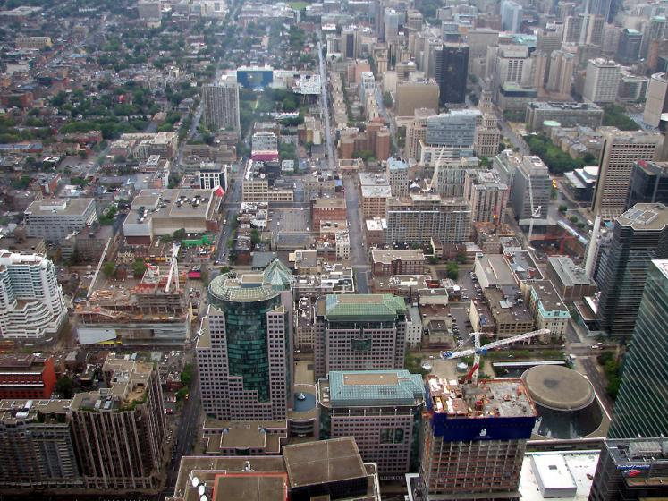 Toronto Photos :: Panoramic views :: A view from CN Tower on downtown