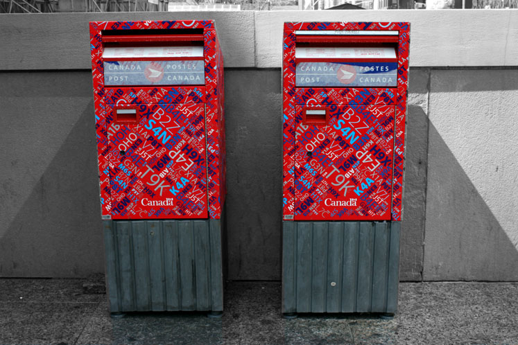 World Travel Photos :: Colors - Rouge :: Toronto. Canada Post letter boxes near Union Station